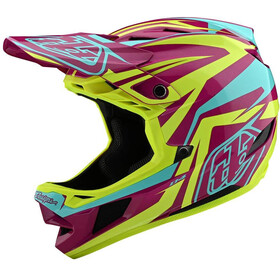 Troy Lee Designs D4 Composite MIPS Mirage Casco, slash purple/yellow